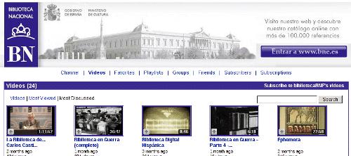 Captura de pantalla del Youtube de la Biblioteca Nacional de España