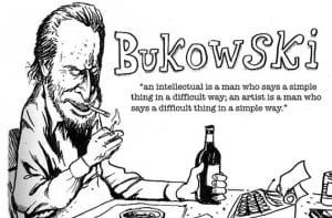 Caricatura y cita de Bukowski