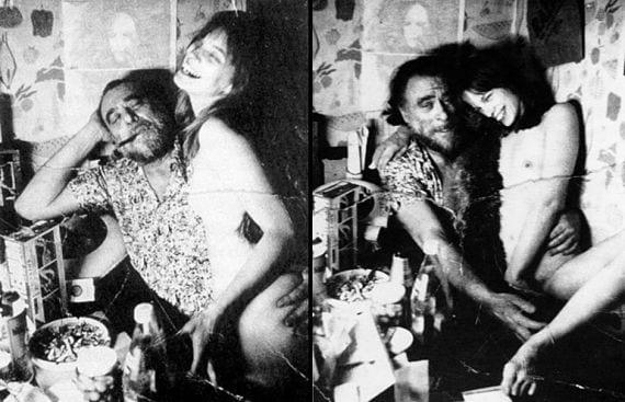 Bukowski posa con una amiga