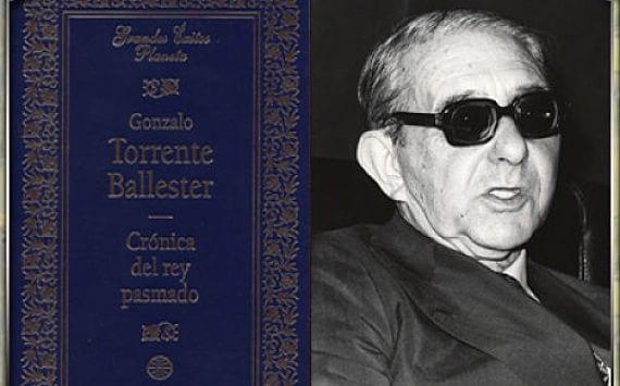 Portada de Crónica del Rey Pasmado y foto de Torrente Ballester
