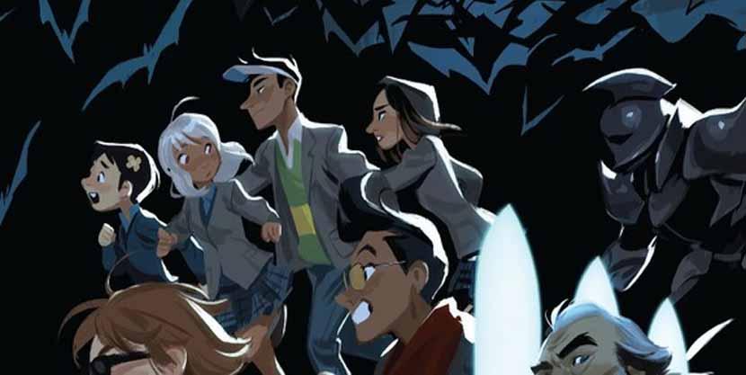 Mingjue Helen Chen dibujando en Gotham Academy.