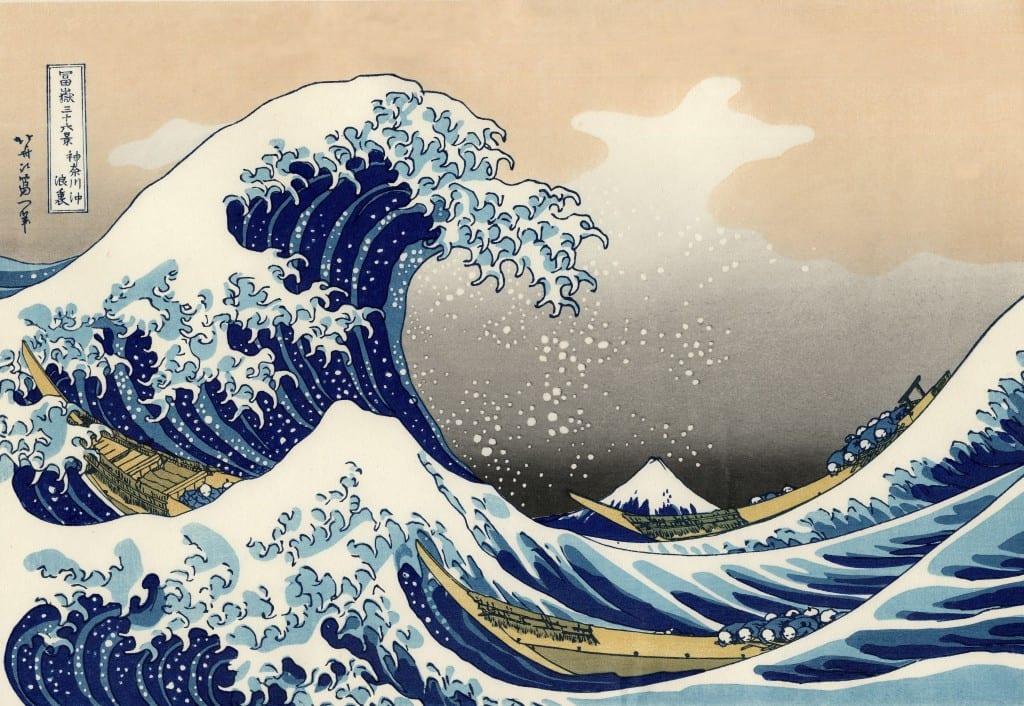 La Gran la de Kanagawa, elemento recurrente en las diferentes portadas de El rumor del oleaje.