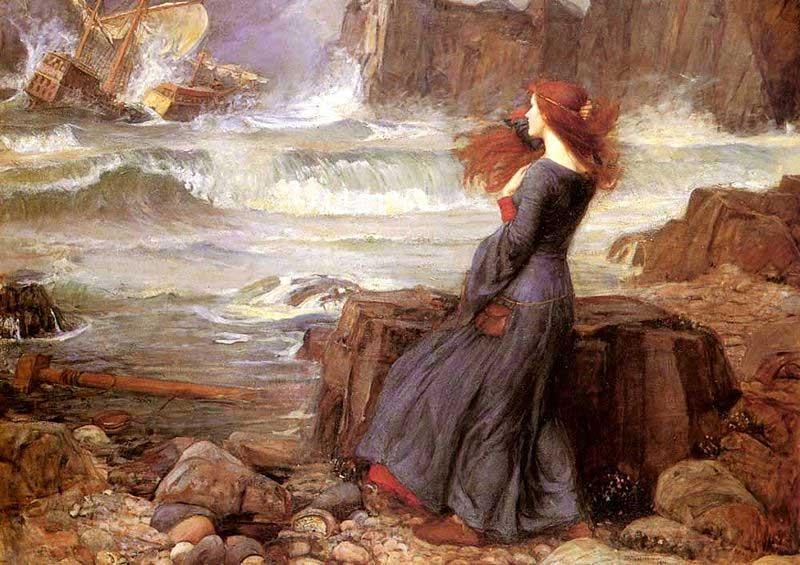 Ariel frente al mar en La tempestad.