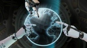 Brazos robóticos señalando un planeta