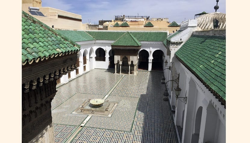 This April 14, 2016, photo shows the courtyard of Al-Qarawiyyin mosque is pictured in Fez, Morocco. Founded 12 centuries ago by a pioneering woman, the al-Qarawiyyin library is wrapping up a careful restoration project and King Mohamed VI is expected to preside over the reopening. But authorities haven't decided whether the public will be able to view its treasured Islamic manuscripts, or whether that privilege will be limited to university researchers. (AP Photo/Samia Errazouki)