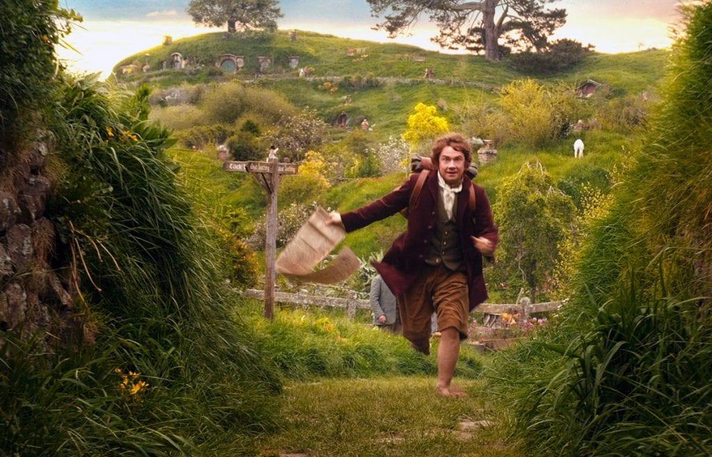 Bilbo Bolsón saliendo de la comarca.