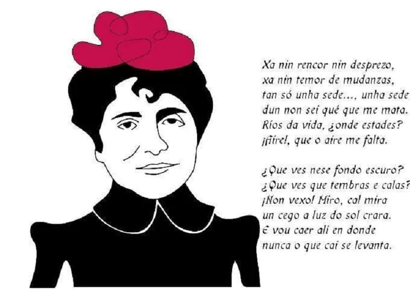 Caricatura de Rosalía de Castro