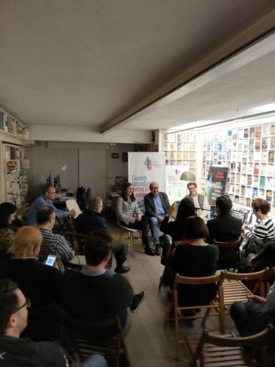 Jose Maria Gallego, Ana Lena Rivera y el autor, Emilio Calderón, presentaron Los Ojos Con Mucha Noche.