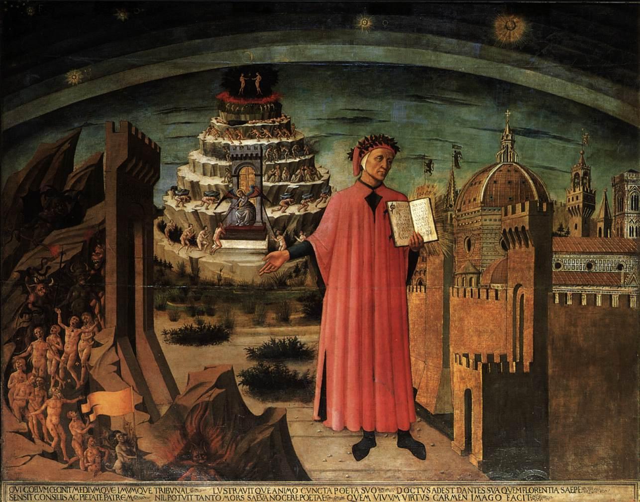 Dante frente al infierno, sosteniendo lo que se cree es una copia de la Divina Comedia.