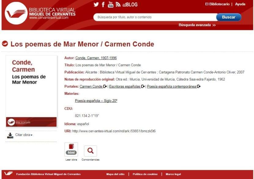 Imagen de la interfaz de búsqueda en Cervantes Virtual.