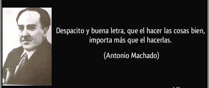 """Fragmento de uno de los poemas de Antonio Machado, """"Caminante no hay camino""""."""